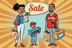 African family dad mom and son with shopping on sale. Comic book cartoon pop art retro color illustration drawing