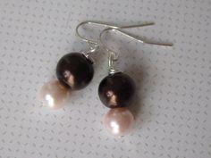 Bridal Pearl Earrings Chocolate Brown & Pale Pink by ScarlettRose. $10.00, via Etsy.