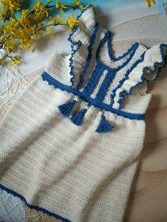 Beginner Crochet Projects, Crochet For Beginners, Crochet For Kids, Crochet Baby Clothes, Pinafore Dress, Cotton Dresses, Baby Knitting, Baby Dress, Crochet Patterns