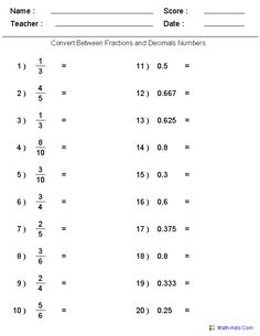 √ Converting Decimals to Fractions Worksheet . 2 Converting Decimals to Fractions Worksheet . Convert Between Decimals and Fractions Examples solutions Decimals Worksheets, Printable Math Worksheets, Teacher Worksheets, Math Fractions, Math Teacher, Math Resources, Teaching Math, Maths, Equivalent Fractions