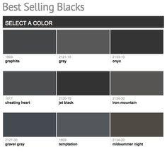 Best selling & popular shades of black & dark neutral paint colors from Benjamin Moore. Exterior Paint Colors For House, Paint Colors For Home, Exterior Colors, Dark Grey Houses, Dark House, Shutter Colors, Dark Trim, Neutral Paint Colors, Dark Colors