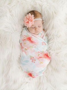 Organic cotton swaddle blanket in Indy Bloom Pink and Blush Floral - Pink, Blush and Coral Flowers on Mint Leaves - Newborn Photography / Newborn Photoshoot / Baby Photos Newborn Pictures, Baby Pictures, Newborn Pics, Newborn Hospital Outfits, Family Pictures, My Baby Girl, Baby Girl Newborn, Baby Baby, Cute Babies