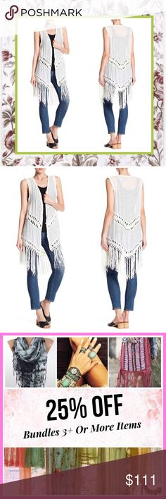 """🌺 NEW WHITE FRINGE VEST DUSTER CARDIGAN MIDI ANGIE Unique Styles new white cream ivory angie crochet Highlow hi lo asymmetrical Fringe duster cardigan. Says size small, can fit medium to large. Material 50% Acrylic/50% Polyester. Very BoHo chic hippie gypsy casual elegant pin up hipster Wiccan tribal vintage Beach islander Jamaican urban reggae goddess vacation beach summer spring Bohemian style. ** To see more styles or colors click on listed """"brand"""" under """"Unique Styles robe"""" Bundle…"""