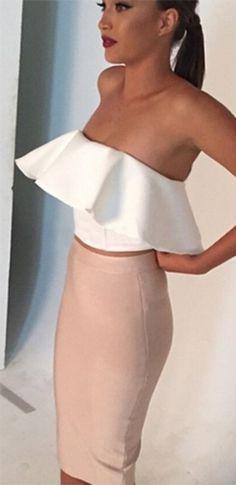 White Beige Strapless Crop Ruffle Top Bodycon Midi Skirt Two Piece Dress