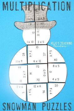 Turn the winter months into a fun time to review basic math facts skills with this great multiplication review snowman. Use it in December, January, or anytime there's snow on the ground. It's a great coloring sheet or worksheet alternative, but it also works great for independent practice and is mostly self-checking. Click through to see how this can work in your 3rd, 4th, or 5th grade classroom or homeschool. (third, fourth, fifth graders, Year 3, 4, 5, home school, multiply)