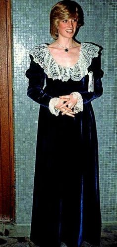 Princess Diana ~ I don't remember this dress but I LOVE the blue velvet with lace collar and cuffs!!!!