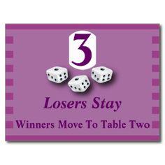 Modern Purple Striped Bunco Table Card #3