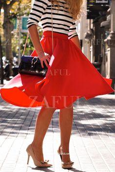 High-Waisted Ruffled Red Midi Skirt RED: Skirts | ZAFUL