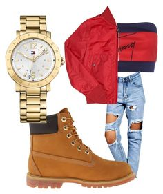 """Untitled #9"" by faithboge-1 on Polyvore featuring beauty, Tommy Hilfiger, Boohoo, Timberland and Moncler"