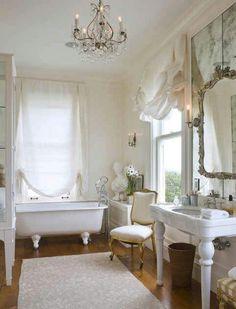 9 Handsome Clever Ideas: Shabby Chic Home Ideas shabby chic design pastel. Romantic Bathrooms, Dream Bathrooms, Beautiful Bathrooms, White Bathrooms, Feminine Bathroom, Modern Bathroom, Luxury Bathrooms, Master Bathrooms, Minimalist Bathroom