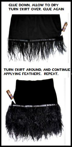 Lovely Feathered Skirt-DIY!   BestMomsTV #flamingo Flapper Party, Flapper Costume, 20s Party, 20s Fashion, Fashion Outfits, Crow Costume, Feather Skirt, Great Gatsby Party, Cosplay