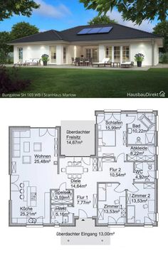 Modern Bungalow House Plans, One Level House Plans, Single Floor House Design, Bungalow Floor Plans, Modern House Floor Plans, House Layout Plans, Family House Plans, Dream House Plans, 3 Bedroom Home Floor Plans
