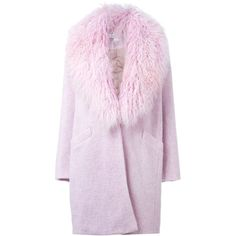Elizabeth And James Fur Collar Coat (108775 RSD) ❤ liked on Polyvore featuring outerwear, coats, elizabeth and james, elizabeth and james coat, fur-collar coat ve pink coat