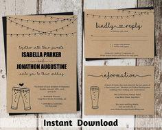 Brewery Wedding Invitation Template - Rustic Beer Pint Glass Toast Printable Set - Kraft Paper   Instant Download PDF Suite - String Lights