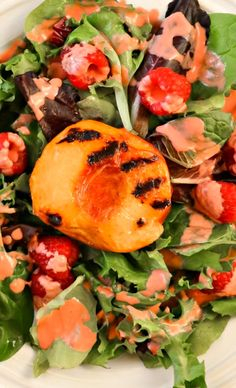 Grilled Peach Salad with Raspberry Vinaigrette Recipe ~ Smokey sweet Grilled Peach Salad with a Raspberry Vinaigrette is an easy to make salad perfect for summer.