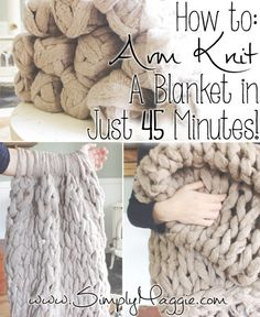 DIY Arm Knitting a Blanket Tutorial from Simply Maggie.The pattern for this DIY Arm Knitting a Blanket is so simple: cast on, knit, bind off. TIP: Read the comments for questions you may have about the yarn, where to buy the yarn etc… Here is the DIY. Yarn Crafts, Sewing Crafts, Diy Crafts, Decor Crafts, Paper Crafts, Crochet Projects, Sewing Projects, Craft Projects, Ideias Diy