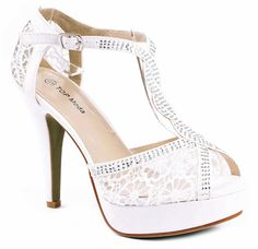 JJF Shoes HY White Formal Evening Party Lace Ankle T-Strap Peep Toe Stiletto High Heel Pumps-6.5