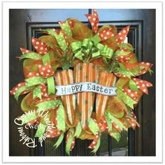 """Happy Easter Carrot Wreath Orange / Green Striped Mesh with Polka Dot Ribbons in Lime and Orange. This measures around 25"""" diameter. Happy Easter sign is metal."""