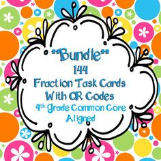 Grade Fractions Task Cards with QR codes Common Core Aligned * Bundle* 4th Grade Fractions, Adding Fractions, 4th Grade Math, Math Activities, Teacher Resources, Math Teacher, Teaching Ideas, Special Education Classroom, Elementary Math