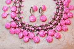 Vintage Kramer Pink Lucite Marbled M and M Bead Necklace Crystal Earrings Demi is simply fabulous and a magnificent find!