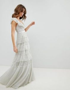 Needle & Thread Tiered Scattered Sequin Gown