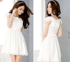 Princess Style Scoop Neck Short Sleeves Solid Color Hooked Lace Decoration Chiffon Dress For Women (WHITE,ONE SIZE) China Wholesale - Sammydress.com