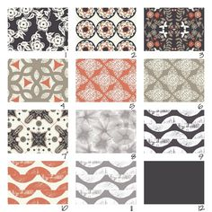 I like the some of these coral and gray fabrics    Custom Crib Bedding-Spice Impressions- 3 piece. $265.00 USD, via Etsy.