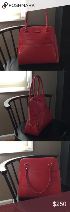 Kate Spade Wellesley Maeda Lg Empire Red Satchel Like new! This bag has only been worn a few times, has no visible signs of wear. Size: 14 inches tall, 15 inches wide. Purchased from Kate Spade website. Includes duster bag. kate spade Bags Satchels