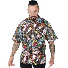 Elvira short sleeve button up Pinball Comic Sub shirt by Kreepsville 666