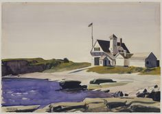 Coast Guard Station, Two Lights, Maine    Artist: Edward Hopper (American, Nyack, New York 1882–1967 New York)  Date: 1927  Medium: Watercolor, gouache and charcoal on paper  Dimensions: 13 7/8 x 19 7/8 in. (35.2 x 50.5 cm)