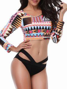 6f471083313d0 Plus Size Printed Long-sleeved Criss-Cross Tankini Swimsuit Swimwear For Women  Plus Size