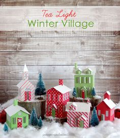 DIY Tea Light Winter Paper Village made with Cricut Explore -- Popper & Mimi. #DesignSpaceStar Round 4