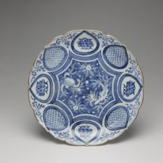 Large of dish of porcelain with bracket rim, decorated in underglaze blue with alternating motifds aounrd edge and central design of fish among weeds: Japan, late 18th century, K.2005.587