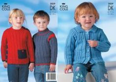King Cole baby DK Jacket and sweaters 2829 Knitting Patterns Boys, Sweater Jacket, Baby Cardigan, King Cole, 18th, Sweaters, Jackets, Clothes, Babies