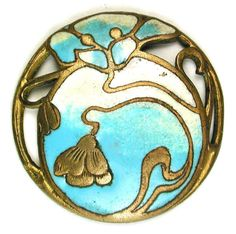 Antique French Enamel Button Pierced Turquoise Art Nouveau Flowers Design