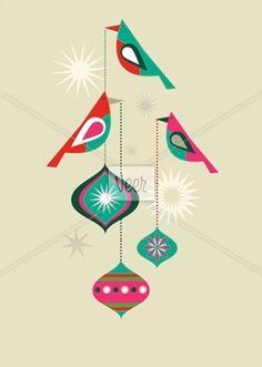 Christmas birds Stock Illustration    Graphic Modern