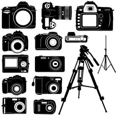 Black and White Digital Camera Silhouette Vector - Free Vector Site | Download Free Vector Art, Graphics