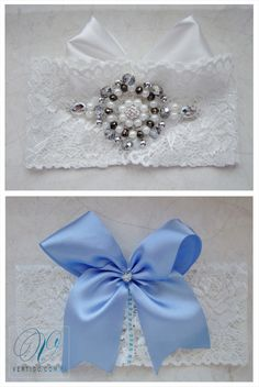 handmade wedding garter with lace, pearls, bow, feathers and swarovski crystals - second version - back with blue bow, source: www.vertigo.com.pl