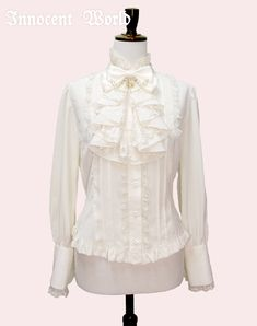 ♡♡ Innocent World - Drape Jabot Blouse in every colour; beige > black > white