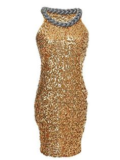 Get ready to party in this gold dress. This dress features all-over sequins and a beaded braided attached collar. Pair this dress with silver strappy heels to c...