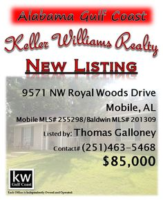 9571 NW Royal Woods Drive, Mobile, AL...Mobile MLS# 255298/Baldwin MLS# 201309...$85,000...Lovely single story home located in a popular neighborhood in Traiwood. Presently, this rental is tenant occupied. Must have a qualified buyer before showing. Appointment only. Please contact Thomas Galloney at 251-463-5468.