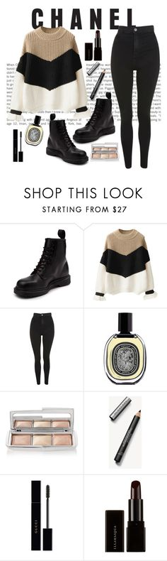 """""""Untitled #33"""" by phoebedior ❤ liked on Polyvore featuring Dr. Martens, Topshop, Diptyque, Hourglass Cosmetics, Burberry, Gucci and Illamasqua"""