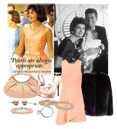 """jackie kennedy 'pearls'"" by aries-indonesia ❤ liked on Polyvore featuring Judith Leiber, Nina, Trollbeads and Halston Heritage"