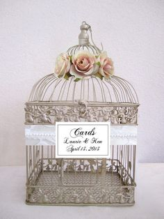 Romantic Roses Lace and Pearls cage to hold cards