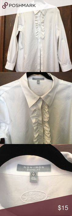 """Foxcroft non-iron blouse 18W plus with ruffle! I hate white shirts that show too much skin or bra, and this is the best one I've found that doesn't do that! Traditional cut and styling (note  the gap between the top button & button #2) with 3"""" slits on the sides for ease of movement and fit. Never worn, washed only. (I get to dress pretty casually at work, so this never fit the floor.) so cute though! Foxcroft Tops Button Down Shirts"""