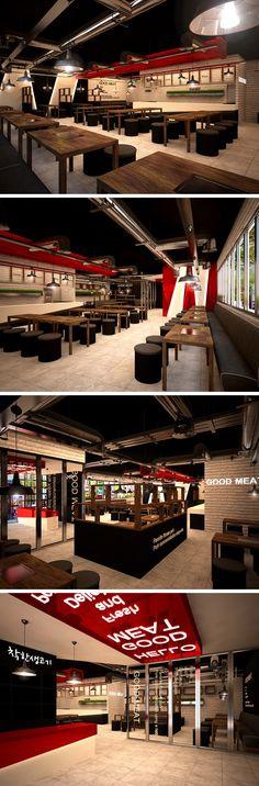 삼겹살 고깃집 인테리어 디자인, 평면도 설계 후 스케치업 모델링 korean steak restaurant interior