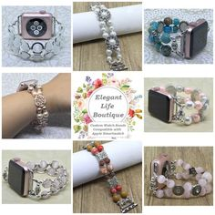 The place to get stylish Handmade Watch Bands Compatible with Apple Smartwatch! Handmade Women's Beaded Bracelet Watch Bands Compatible for Apple Smartwatch (38mm & 42mm) - made in the USA by www.elegantlifeboutique.com  Please visit my website, Etsy shop or my new eBay store @ElegantLifeBoutique