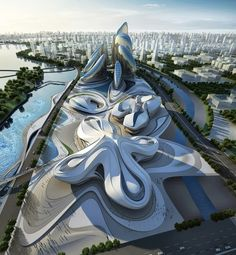Zaha Hadid architectural concept for Changsha Meixihu International Culture  Art Center in China