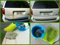 Before & After love my Norwex Car Mitt & Car Cloth! I removed the stubborn rust & polished the chrome with Cleaning Paste.