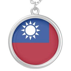 Flag of Taiwan Republic of China Silver Plated Necklace - accessories accessory gift idea stylish unique custom Taiwan Flag, Party Flags, Metal Necklaces, Silver Plate, Plating, China, Unique Jewelry, Gifts, Jewellery